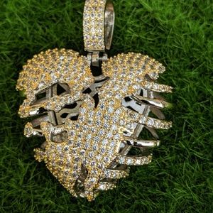 """🔱Hip Hop🔱Iced Out Hungry Heart & 20"""" Chain"""